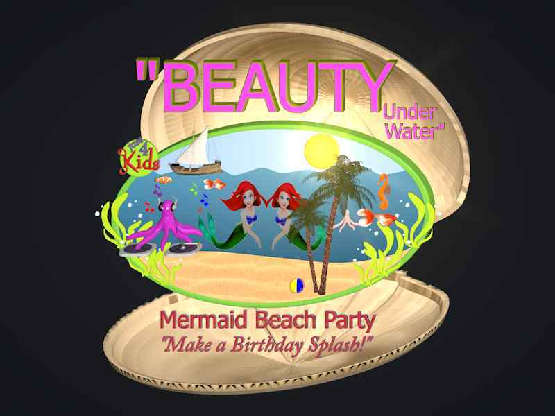 Beauty Under Water Mermaid Beach Party Logo