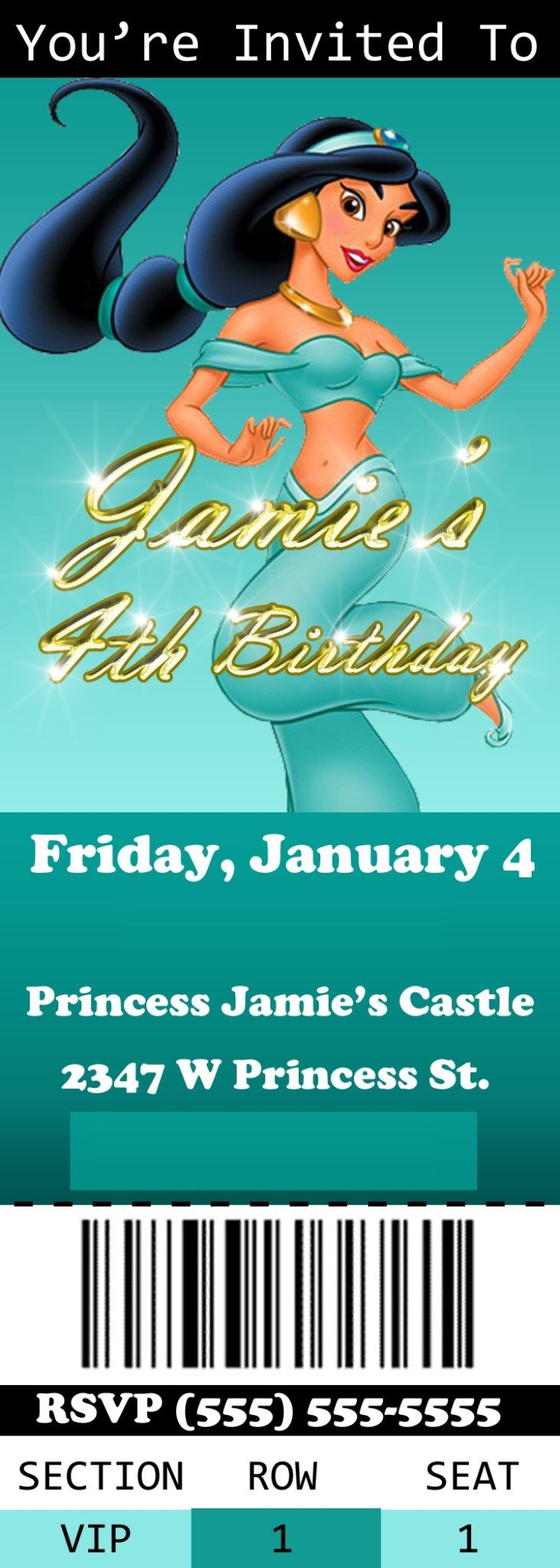 Princess Jazmines Royal Court Birthday Party Invitation